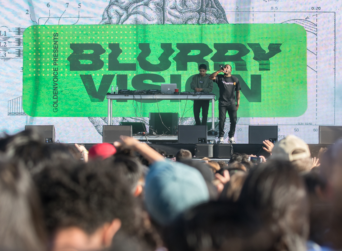 Isaiah Rashad performs on Day One of Blurry Vision Fest at Oakland's Middle Harbor Shoreline Park. Photo by Aaron Nelson.