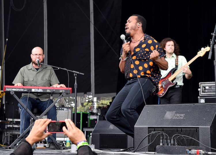 SAN FRANCISCO, CA - AUGUST 12: (L-R) Steve Okonski, Durand Jones and Kyle Houpt of Durand Jones & The Indications perform on the Lands End Stage during the 2018 Outside Lands Music And Arts Festival at Golden Gate Park on August 12, 2018 in San Francisco, California. (Photo by Jeff Kravitz/FilmMagic) *** Local Caption *** Steve Okonski;Kyle Houpt;Durand Jones