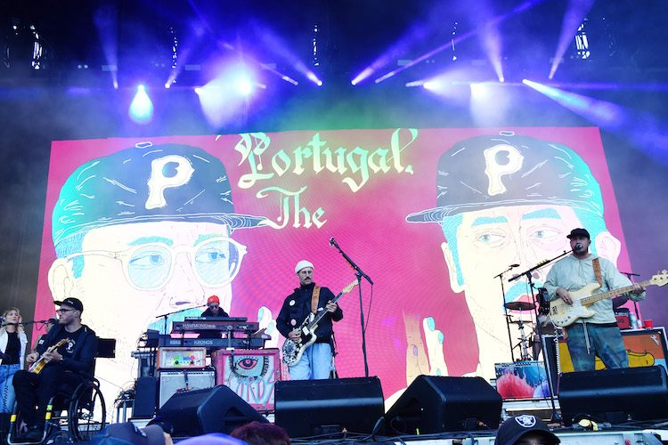 SAN FRANCISCO, CA - AUGUST 12: (L-R) Eric Howk, Kyle O'Quin, John Gourley and Zachary Carothers of Portugal. The Man perform on the Lands End Stage during the 2018 Outside Lands Music And Arts Festival at Golden Gate Park on August 12, 2018 in San Francisco, California. (Photo by Jeff Kravitz/FilmMagic) *** Local Caption *** Eric Howk;John Gourley;Zachary Carothers;Kyle O'Quin